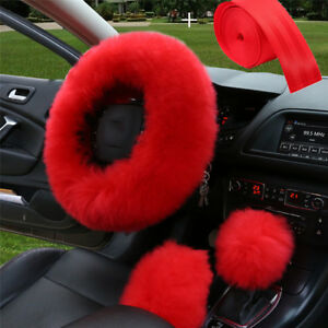 Red Car Plush Steering Wheel Cover gear Knob Cover brake Cover seat Belt Lap