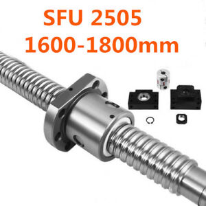 Rm sfu2505 Ball Screw L1600 1800mm Ballnut C7 Ballscrew W Single For Cnc