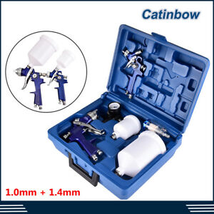 Hvlp 1 0mm 1 4mm Air Spray Nozzle Gun Kit Primer Gravity Feed Paint 30 80psi