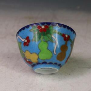 Old China Hand Painting Ming Chenghua Cloisonne Wire Inlay Gourd Cup Blue