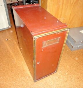 Vintage 1917 Minot S Microscope Slide Storage Cabinet Metal Drawers Spencer Lens