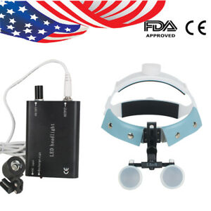 Usa Dental Surgical Medical Headband Loupes 3 5x r Magnifier Led Head Light Lamp