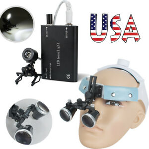 Dental Surgical Medical Headband Loupes 3 5x R Magnifier Clip Head Light Lamp Us