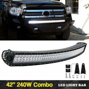 240w Cree 42inch Curved Led Light Bar Flood Spot Car Boat Driving Wire Kit 40 44