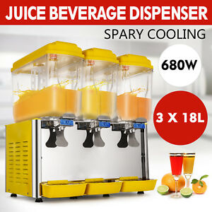 54l 3 Tanks Juice Beverage Dispenser Cold Drink Jet Spray Refrigerate