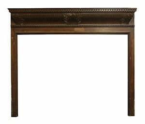 1900s Wood Fireplace Wood Mantel With Dentil Detail