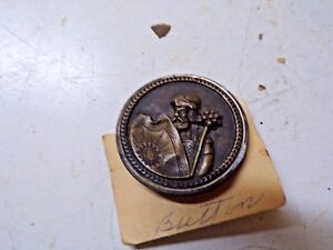 Old Embossed Picture Button Knight Shield 1 1 2 Diameter