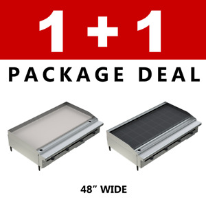 Pantin Commercial Restaurant 48 Charbroiler And Flat Griddle Grill Package Nsf