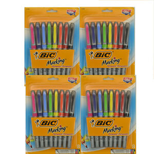 32 Bic Marking Permanent Fine Point Markers Assorted Colors Huge Lot Of 4 Packs