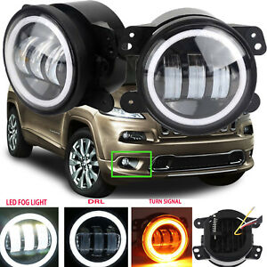 4 Inch Led Halo Fog Lights Bulb For Jeep Grand Cherokee 2011 2013 Bumper Offroad