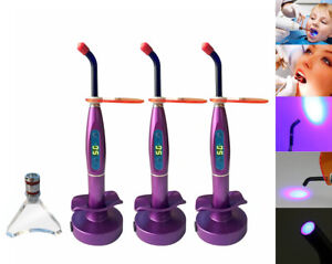 3 Pcs Dental Led 1500mw Wireless Curing Light Cure Lamp Purple Whitening Tip