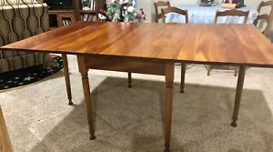 Antique Original 1956 Leopold Stickley Solid Cherry Drop Leaf Dining Room Table