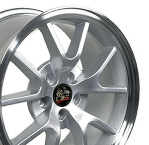 18x9 Rim Fits Mustang Fr500 Wheels Silver Rims 94 04 Set Cp