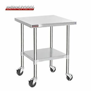 Durasteel Stainless Steel Work Table 30 X 30 X 34 Height W 4 Caster Wheels
