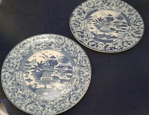 Pair 2 Vintage Blue White Heavy Plate No Mark Chinese
