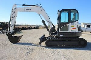 2011 Bobcat E80 Excavator Includes 3 Buckets Hyd Thumb Coupler A c Nice