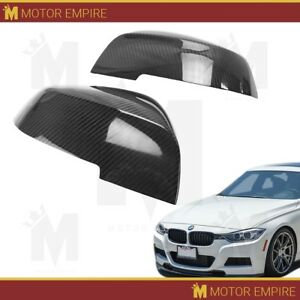 2pc Glossy Black Carbon Fiber Side Mirror Covers Overlay For Bmw F20 F22 F30 F32