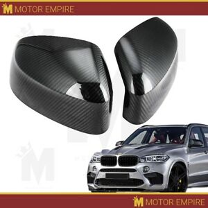 2pc Glossy Black Carbon Fiber Side Mirror Covers Overlay For 2014 18 Bmw X5 F15