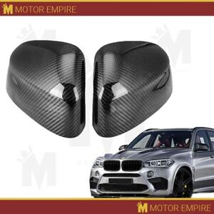 2pc Glossy Carbon Fiber Side Mirror Covers Replacement For 2014 18 Bmw X5 F15