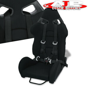 Fully Reclinable Black Racing Bucket Cuga Style Seat 4pt Camlock Seatbelt