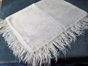 Antique Linen Damask Fringed Tablecloth Stylized Florals Ferns Beautiful