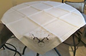 Antique Linen Tablecloth Embroidery And Cutwork Florals On Corners