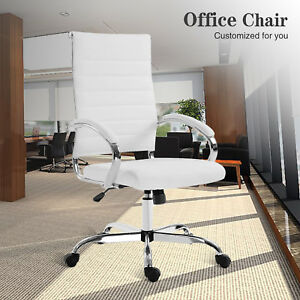 Computer Chair Office Executive Gaming Desk Seat Swivel Leather High Back White