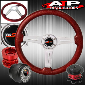 Sparkle Red Steering Wheel Quick Release Red Hub Extender For 89 05 Eclipse