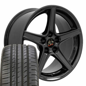 18 Wheel Tire Set Fit Ford Mustang Saleen Style Black Rim Ironman