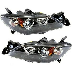 Headlight Set For 2004 2005 2006 Mazda 3 Sedan Left And Right Hid 2pc