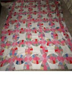 Vintage Hand Stitched Wedding Ring Quilt Top Only 96 X 83 Pink