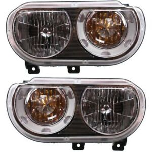 Headlight Set For 2008 2014 Dodge Challenger Left And Right With Bulb Capa 2pc