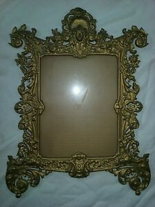 Antique Victorian Gold Gilt Iron Bronze Bradley Hubbard B H Picture Frame Mirror
