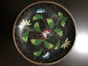 Antique 19c China Chinese Cloisonne Enamel On Bronze Floral Black Plate