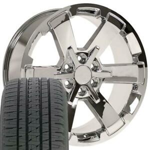 22x9 Fit Gmc Chevy Chrome Rally Style Ck162 22 Rims W bda Tires Cp