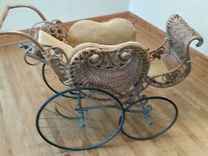 Antique Wicker Doll Buggy Baby Carriage Large Size