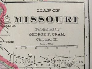Vintage 1902 Missouri Map Old Antique Historical St Louis Independence Mapz