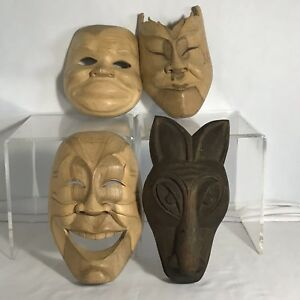 Hand Carved Wood Face Masks Wall Hanging Decoration Set Of 4