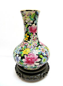 Chinese Famille Rose Porcelain Millefleur Vase W Stand