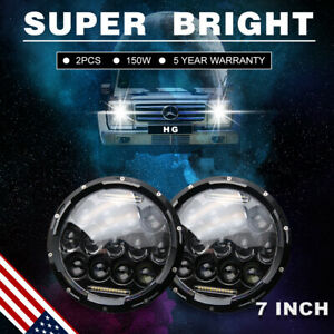 7 Round Led Headlight Assembly Projector Drl Jk Jku Fit Jeep Wrangler 6000k 7us