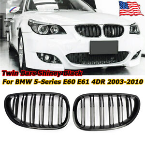 Front Kidney Twin Fins Gloss Grille Double Rib Grill For Bmw E60 E61 M5 2003 09