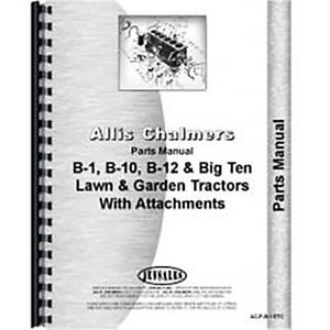 Parts Manual For Allis Chalmers B 12 Lawn Garden Tractor