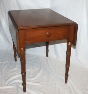Vtg Mid Century Conant Ball Furniture Side End Table Maple Folding Flaps Drawer