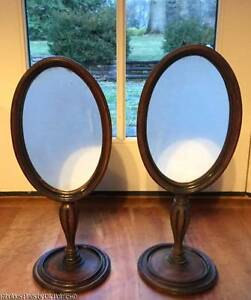 Pair Old Or Antique Wood Oval Dresser Table Mirrors Victorian Edwardian