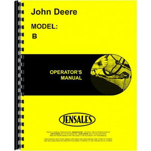 New John Deere B Tractor Operator Parts Manual