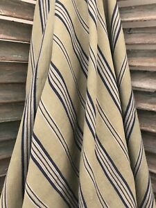 Vintage French Linen Ticking Fabric Soft Cotton Blue Khaki Stripe 53 X 76