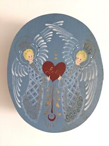 Christmas Angels Oval Shaker Style Wooden Box Angels Handpainted 8