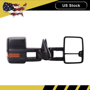 Left right Power heated turn Signal Tow Mirror For 03 06 Chevy Silverado Sierra