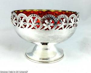 English Silverplate Sweetmeat Candy Dish Red Glass Liner Celtic Quality Plate