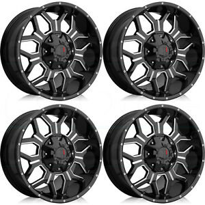 17x9 Havok H106 8x170 12 Black Milled Wheels Rims Set 4